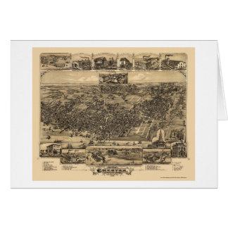 Chester, mapa panorámico del PA - 1885 Tarjeta De Felicitación