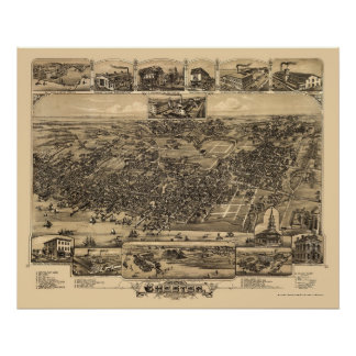 Chester, PA Panoramic Map - 1885 Posters