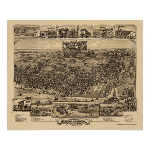 Chester, PA Panoramic Map - 1885 Poster