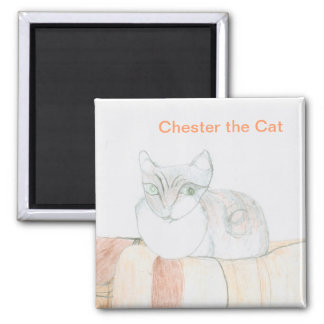 Chester the Cat - Square Magnet
