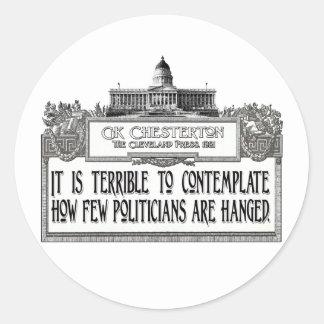 Chesterton en el colgante de los políticos pegatina redonda