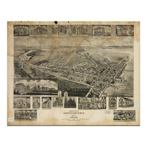 Chestertown Maryland 1907 Antique Panoramic Map Posters