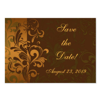 Chestnut Brown/Gold/Green Photo Save the Date Card