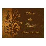 Chestnut Brown/Gold/Green Photo Save the Date Custom Invitations
