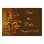 """Chestnut Brown/Gold/Green Photo Save the Date 5"""" X 7"""" Invitation Card"""