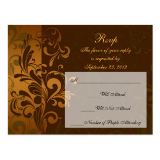 Chestnut Brown Gold/Green RSVP Reply Postcard
