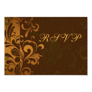 Chestnut Brown Gold/Green Swirl RSVP Reply Cards