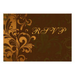 Chestnut Brown Gold/Green Swirl RSVP Reply Cards Custom Announcements