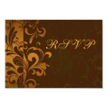 """Chestnut Brown Gold/Green Swirl RSVP Reply Cards 3.5"""" X 5"""" Invitation Card"""