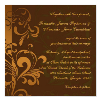 Chestnut Brown Gold/Green Swirl Square Wedding Card