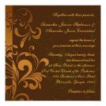 """Chestnut Brown Gold/Green Swirl Square Wedding 5.25"""" Square Invitation Card"""