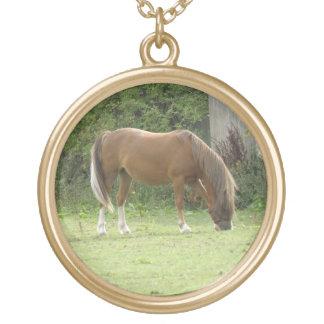 Chestnut Brown Horse Grazing Necklace