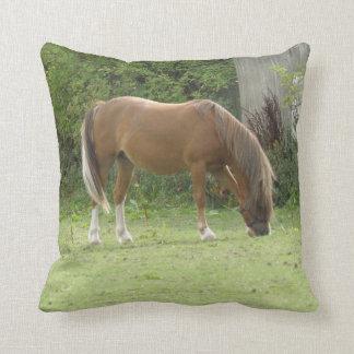 Chestnut Brown Horse Grazing Pillow