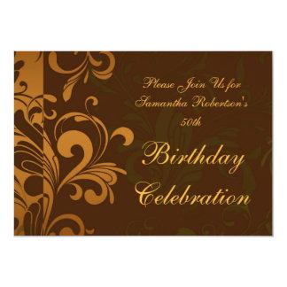 Chestnut Brown Swirl Birthday Party Invitations