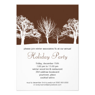 Chestnut Brown Winter Wood Corporate Holiday Party Personalized Invitations