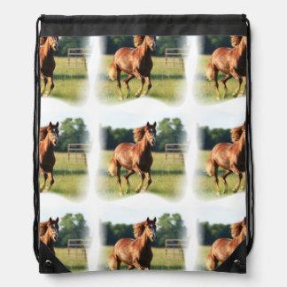 Chestnut Galloping Horse Drawstring Backpack