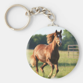 Chestnut Galloping Horse Keychain