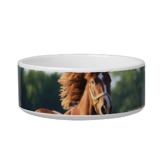 Chestnut Galloping Horse Pet Bowl