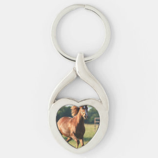 Chestnut Galloping Horse Key Chain