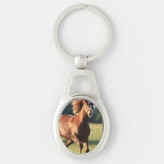 Chestnut Galloping Horse Keychain