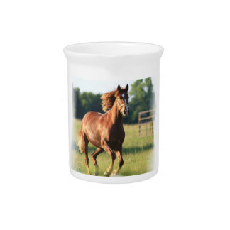 Chestnut Galloping Horse Pitcher