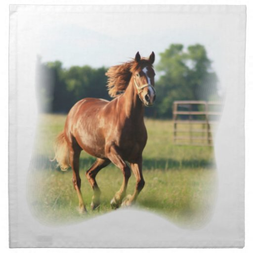 Chestnut Galloping Horse Set of Four Napkins