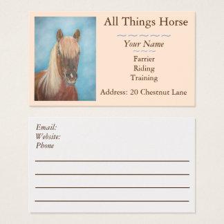 chestnut horse blonde mane equestrian equine business card