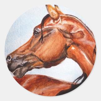 Chestnut horse classic round sticker