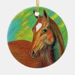 Chestnut Horse Head Art Christmas Ornament