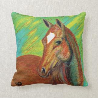 Chestnut Horse Head Art Throw Pillow