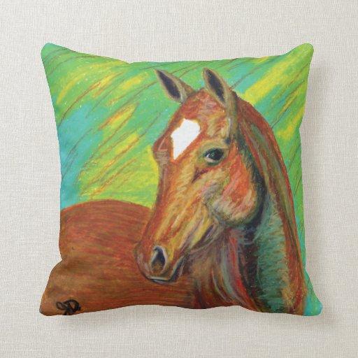 Chestnut Horse Head Art Throw Pillow Zazzle