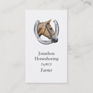 Horseshoeing business cards zazzle chestnut horse in a silver horseshoe business card colourmoves