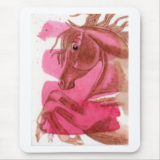 Chestnut Horse On Hot Pink Watercolor Mouse Pad