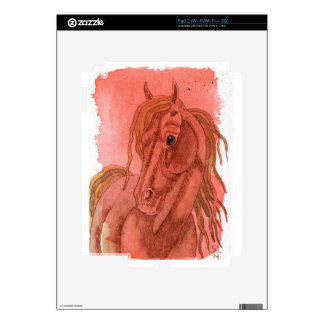 Chestnut Horse On Orange Watercolor Wash Decal For iPad 2