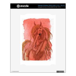 Chestnut Horse On Orange Watercolor Wash NOOK Decals
