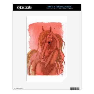 Chestnut Horse On Orange Watercolor Wash NOOK Color Skins