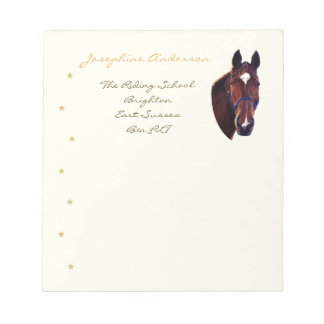 Chestnut Horse Portrait with White Star Note Pad