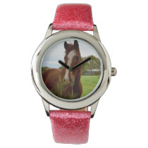 Chestnut Horse Smelling A Banksia Tree, Wrist Watch