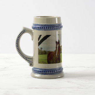 Chestnut Horse Sniffing A Banksia Tree, Beer Stein
