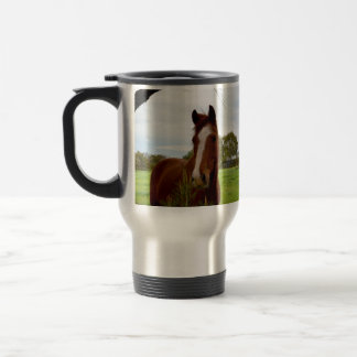Chestnut Horse Sniffing A Banksia Tree, Travel Mug