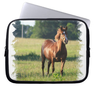 Chestnut Horse Standing Electronics Bag Laptop Computer Sleeve