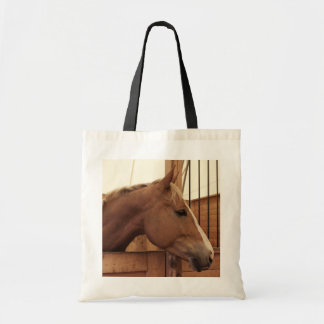 Chestnut Horse with Blaze in Stall Tote Bag