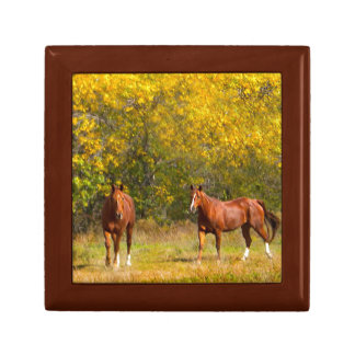 Chestnut Horses in Autumn Jewelry Box