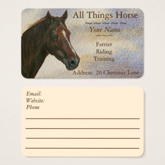 chestnut mare horse art equestrian farrier equine business card