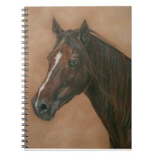 Chestnut mare horse portrait equine art design notebook