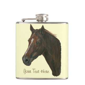 Chestnut mare horse portrait equine art flask