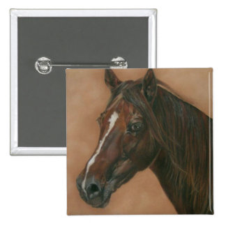 Chestnut mare horse portrait equine art painting pinback button