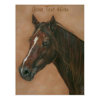 Chestnut mare horse portrait equine art painting postcard
