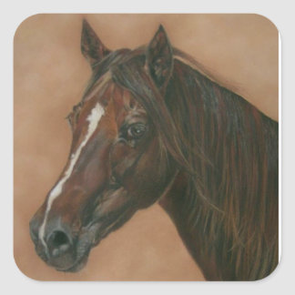 Chestnut mare horse portrait equine art painting square sticker