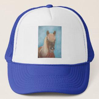 Chestnut mare horse portrait equine art painting trucker hat